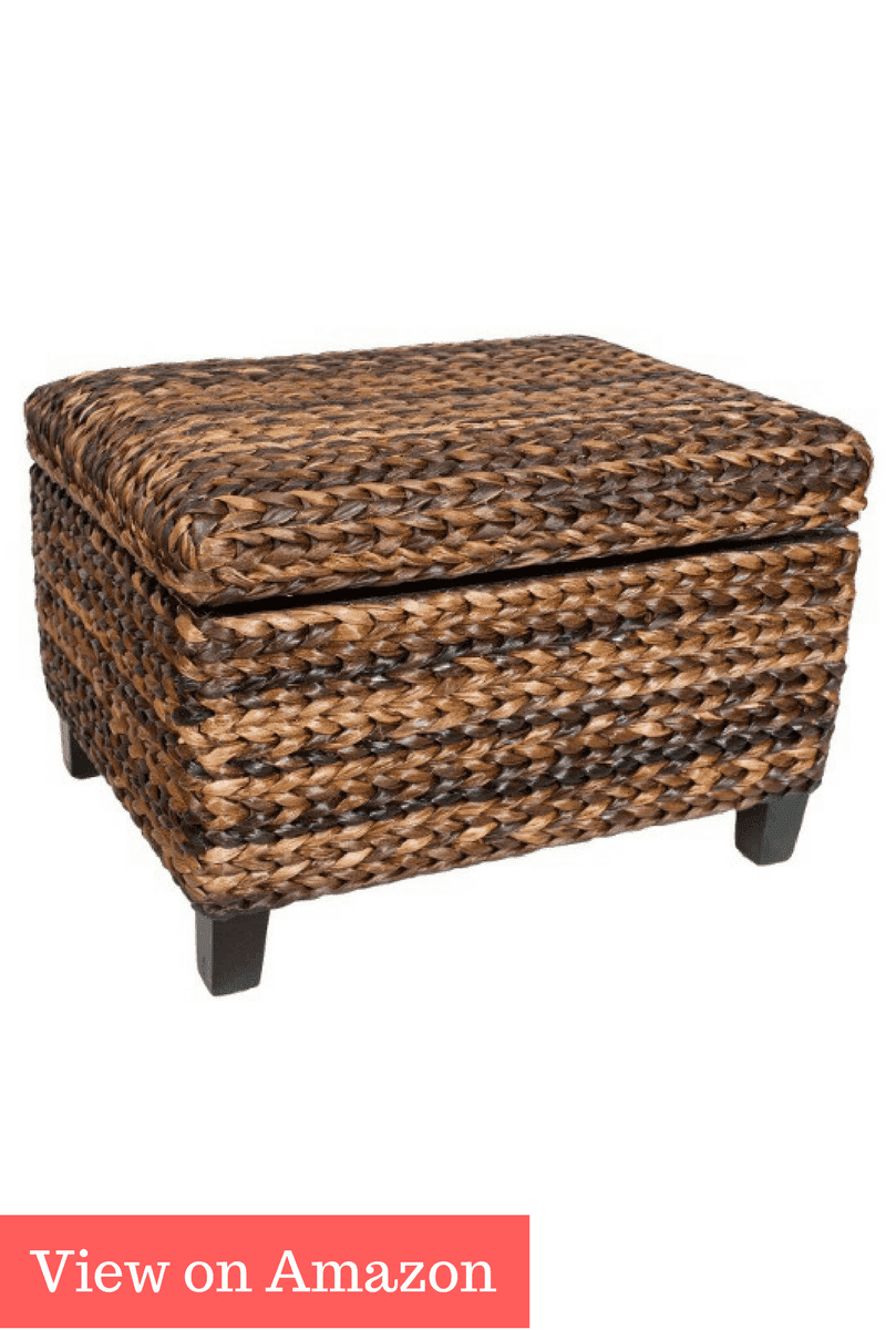 BirdRock Home Woven Seagrass Storage Ottoman | With Safety Hinges - Best Storage Baskets, Boxes, Tubs, Containers, Totes & Bins 2017